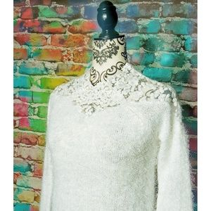 Lace scallop Neck Fuzzy Sweater Medium